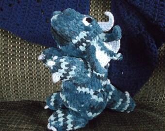Dragon softie, dragon plushie, crochet blue dragon, dragon amigurumi, soft dragon toy, ready to ship
