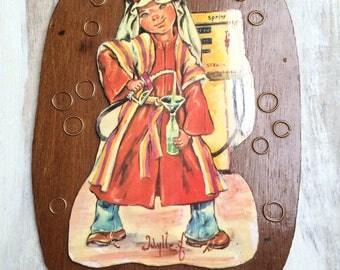 Vintage Big Eye Idylle Print Arabian Dressed Boy Mounted on wood