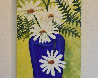 Daisies in a Blue Vase 10x20 original acrylic on canvas