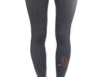 Fox women leggings, footless funky tights, unique gift for her, girlfriend present, printed leggings