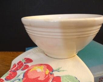 "Small Yellow Ware  Bowl - White - White Glazed Yelloware/Yellow Ware Mixing Bowl - 6"" - Early 1920s - Primitive Farmhouse"