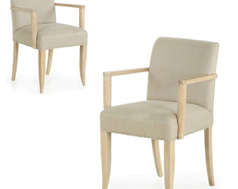 Vintage Pair of French Modern Cerused Oak Arm Chairs w/ fine patina, circa mid century