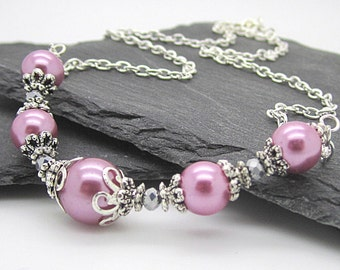 Ballet Pink Wedding Pearl Necklace, Pink Bridesmaid Jewellery, Matching Bridal Sets, Rose Bridesmaid Necklace, Bridal Party Gifts, Pink Sets