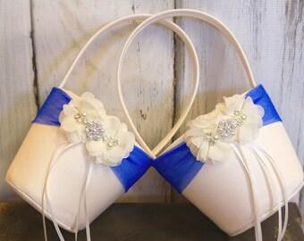 Your Color ,Two Flower Girl Baskets ,Royal Blue Flower Girl Wedding Basket  ,Wedding Basket , Flower Girl Basket