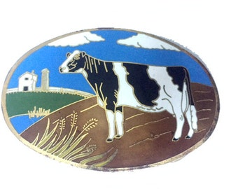 Vintage Cow Belt Buckle - Farm - Dairy Farmer - Black and White - Holiday