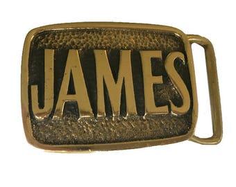 Vintage James Name Belt Buckle - Solid Brass - Gift Ideas for Him - Bond Jamie Jamey - Personalized
