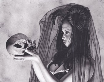 16x20 Inch Matted Print of Original Charcoal Drawing of Sexy Dark Queen with Skull