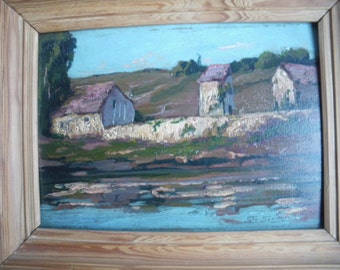 Oil on board painting signed Geo  Gyaniny south France landscape with a wooden frame river Tarn  antique farmhouse home decor rustic 1950