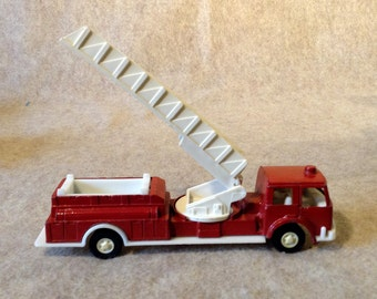Tootsie Toy Fire Truck 1970 - Metal Body in Red with White Plastic Trim and Ladder