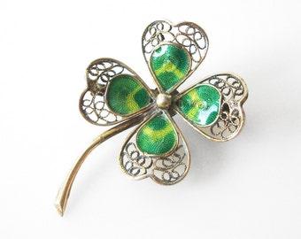 Vermeil 800 Silver Filigree Enamel Shamrock Four Leaf Clover Pin For St. Patricks Day