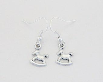 Silver Rocking Horse Earrings