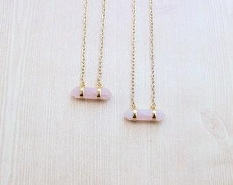 SALE! Horizontal Double Point Rose Quartz Pendant Necklace in Gold