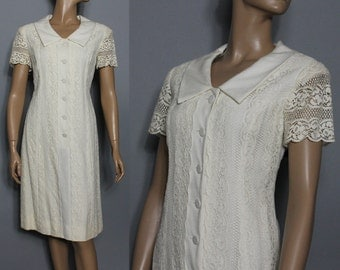 Vintage 1960s Dress // Designer // Lace // Rayon // Wedding // 1960's // Garden Party