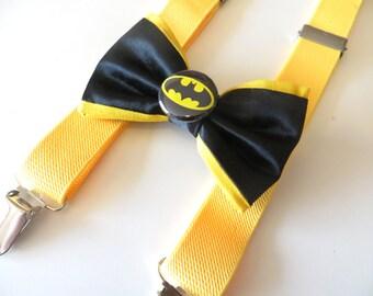 Batman Black And Yellow Suspender Set, Batman Suspenders, Black Yellow Suspenders