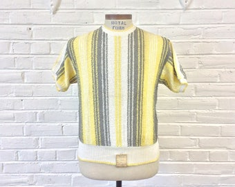 Vintage NOS 1950s 1960s Striped Knit Cotton Short Sleeve Shirt. Size M/L
