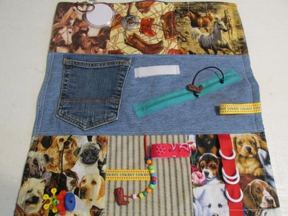 Alzheimer's Fidget Blanket Cowboy / Horses / Dogs  Alzheimer's / Dementia / Autism / Restless Fingers Sensory Blanket