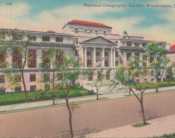 1950 Vintage Linen Postcard Showcasing the National Geographic Administration Society Building in Washigton DC | Blank Postcard