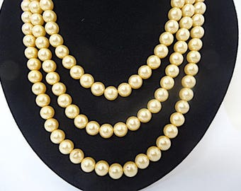 Long Faux Pearl Necklace - 54 Inches – Pearl Rope – Versatile Pearl Necklace - Bridal - Wedding - Vintage Jewelry - Pearl Necklace