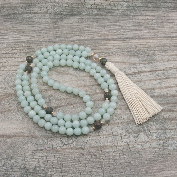 Amazonite 108 Mala Necklace - Creativity & Patience - Meditation Beads - Yoga Mala Beads - Item # 801