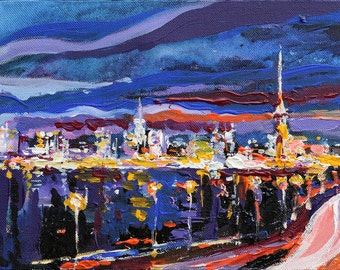 Сity Night Lights painting Original acrylic painting Ready to hang Contemporary Fine art by Valiulina