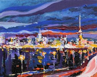 Сity Night Lights painting Original acrylic painting Ready to hang Contemporary Fine art by Valiulina