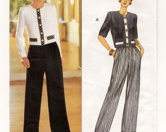 A Waist Length, Long/Short Sleeve Top and Straight Leg Elastic Waist Pants Sewing Pattern for Women: Uncut - Sizes 12-14-16 ~ Butterick 6845