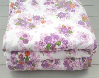 2 Double Vintage Bed Sheets Flannelette Purple Floral