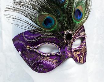 Purple Masquerade Mask, Purple and Gold Paisley Brocade and Paper Mache Masquerade Ball Mask