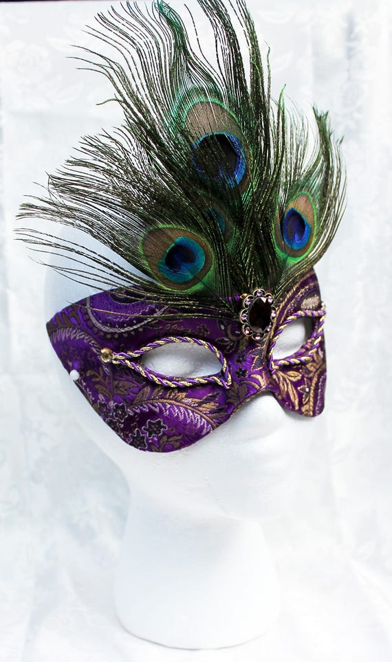 Purple Masquerade Mask, Purple and Gold Paisley Brocade and Paper Mache Masquerade Ball Mask