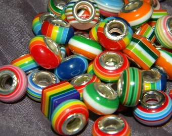 NEW 20pcs per lot Rainbow Stripped mix  Mixed Assorted European Style Chram 925 silver inserts spacer Beads Mix lot