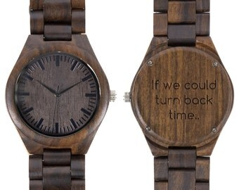Personalized  wooden watch - black sandal - engraved with personal text - Gift for Him/Her, Anniversary, Wedding gift, birthday gift
