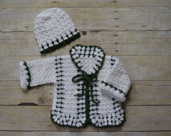 Baby Sweater Set - Baby Sweater Hat Set - Baby Cardigan - Baby Outfit - Baby Jacket -  Baby Sweater Set - Unisex Baby Shower Gift