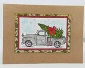 Greeting cards, Handmade, Cards, Art, Handmade Greeting Card , Christmas Greeting Card, Truck with Christmas Tree Card
