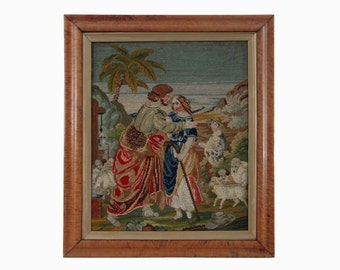 Shepherds Pastoral Scene Antique Needlework Picture Maple Framed - 19th Century, England