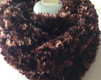 Soft Brown Scarf - Circle Scarf - Infinity Scarf - Handmade Crochet - Ready to Ship