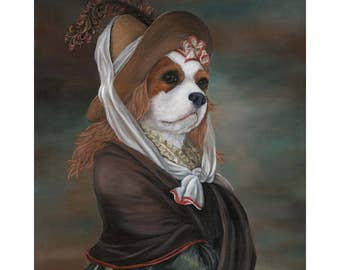 King Charles Spaniel Canvas Print, Olivia Royale, Blenheim, Dogs In Costumes