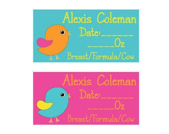 80 Dishwasher-Safe Removable Baby Bottle Labels -  Personalized breast milk labels for daycare - Birdies 004