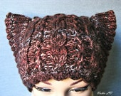 Knit cat hat, brown cat hat, cat ear hat, women's cat hat, hand knitted beanie, cable cat hat, animal hat, winter hat, dark brown pussy hat