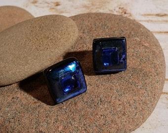 Square Aqua Blue Dichroic Fused Glass Post Earrings - FG-060
