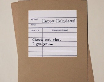Last Minute Gift / Ready to Ship! / Library Christmas Card / Happy Holidays / Merry Christmas Library-Themed Gift Card Holder / for Teacher