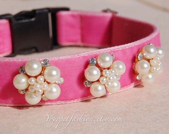 Modern Bright pink wedding dog collar!Perfect gift for dog,panne velvet with pearl flowers dog collar. Wedding dog collar.dog wedding collar
