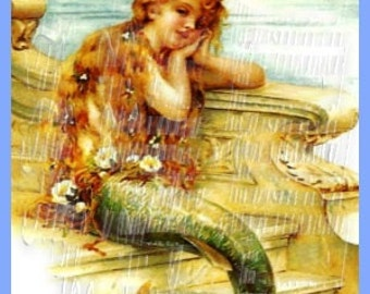 Retro Victorian Book Fabric Melancholy Mermaid Page Illustration Crafts Quilts Applique M161