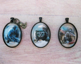 Alice In Wonderland Black Pendants: Absolem the Caterpillar, Cheshire Cat, White Rabbit 30x40mm  C102