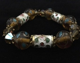 Cloisonné Beads and Amber Glass Beaded Bracelet   (ABX1G)
