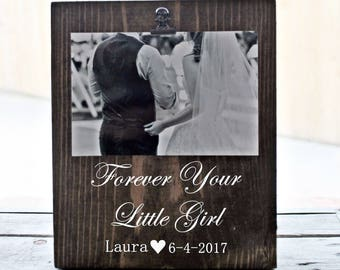 Father Dad Thank You Gift Wedding Father of the Bride Personalized Picture Frame Forever Your Little Girl Parents Wedding Gift