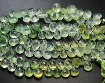 8.5 Inch Strand,Finest Quality Natural Green PREHNITE Faceted Pear Shape Briolettes,10-11mm size