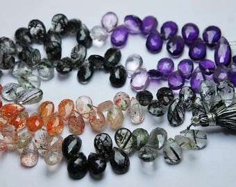 8 Inches Strand,Natural Mixed Semi Precious Faceted Pear Size 10-12mm
