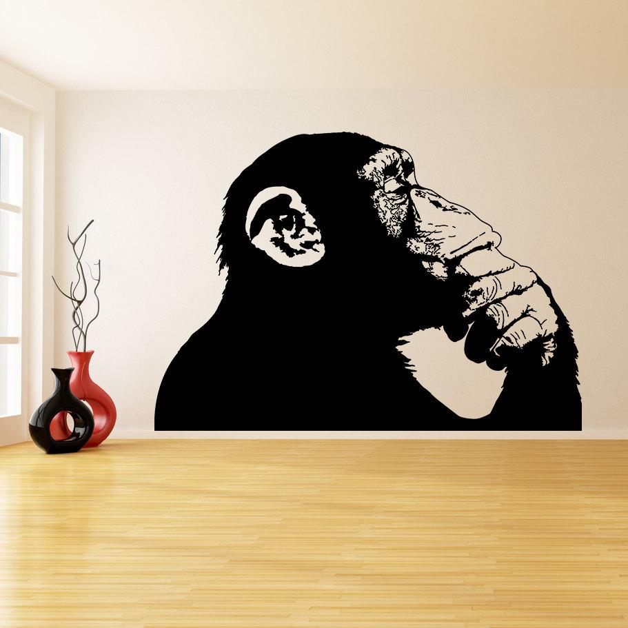 Graffiti wall vinyl - Banksy Vinyl Wall Sticker Thinking Monkey One Color Realistic Smart Ape Decal Decor Street