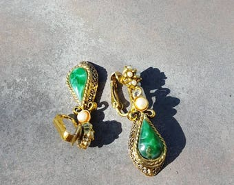 Vintage Green and Brass Earrings