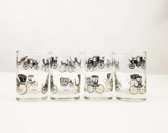 Set of Four Glasses With Gold, Black and White Antique Cars - Drinking Glasses -  4 Oz. Juice Glasses - Mint Condition